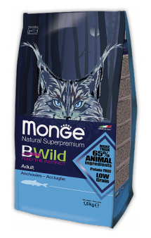 BWild Cat Adult Anchovies корм для кошек с Анчоусами / Monge (Италия)