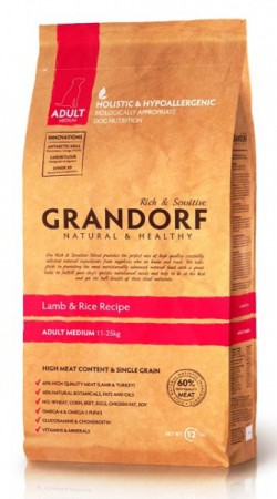GRANDORF Lamb and Rice Adult Medium,корм для собак средних пород,с Ягненком / United Petfood Producers NV (Бельгия)
