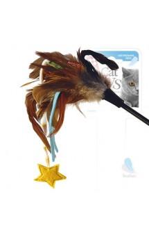 Дразнилка для кошек со звёздочкой, натуральные некрашеные перья / GiGwi (Китай)