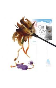 Дразнилка для кошек с верёвкой, натуральные некрашеные перья / GiGwi (Китай)