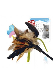 Дразнилка для кошек с бабочкой и натуральными некрашеными перьями / GiGwi (Китай)