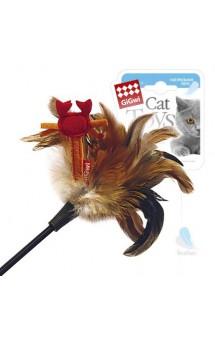 Дразнилка для кошек с крабиком, натуральные некрашеные перья   / GiGwi (Китай)