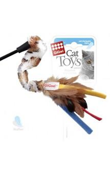 Дразнилка для кошек с перьями на стеке / GiGwi (Китай)