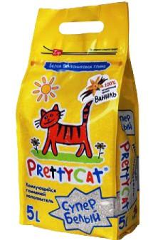 Наполнитель комкующийся для кошачьих туалетов СУПЕР БЕЛЫЙ с лавандой / PrettyCat (Россия)