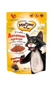Влажный корм Мясной Карнавал для кошек Утка, Курица, Индейка / Мнямс (Лихтенштейн)