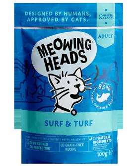 """MEOWING HEADS Surf and Turf,  """"Все лучшее сразу"""", паучи для кошек с Сардинами и Тунцом / Real Pet Food (Великобритания)"""