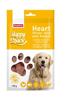 Happy Snack Heart Chicken Jerky with Pollock, нежные сердечки из Курицы и Трески, для собак / Beaphar (Нидерланды)