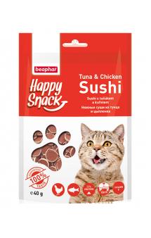 Happy Snack Tuna and Chicken Sushi, нежные суши из Тунца и Цыпленка / Beaphar (Нидерланды)