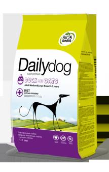 DailyDog Adult Medium, Large Breed Duck and Oats, корм для собак средних и крупных пород с Уткой / DailyPet (Италия)