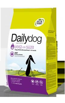 DailyDog Puppy Medium, Large Breed Duck and Oats, корм для щенков средних и крупных пород с Уткой / DailyPet (Италия)