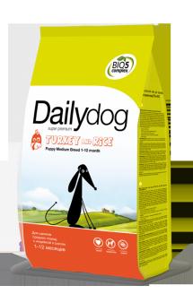 DailyDog Puppy Medium Breed Turkey and Rice, корм для щенков средних пород с Индейкой / DailyPet (Италия)