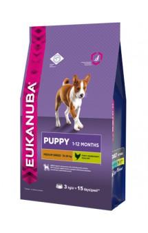 Puppy & Junior Medium Breed, корм для щенков средних пород / Eukanuba (Нидерланды)