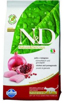 N&D Cat Chicken and Pomegranate Neutered, корм для стерилизованных кошек с Курицей и Гранатом / Farmina (Италия)