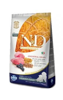 N&D Low Grain Dog Lamb and Blueberry Puppy Medium and Maxi, корм для щенков с Ягненком и Черникой / Farmina (Италия)