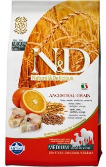 N&D Low Grain Codfish & Orange Adult Medium,корм для собак средних пород с Треской и Апельсином / Farmina (Италия)