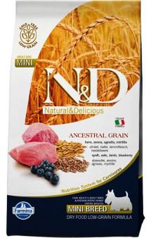 N&D Low Grain Lamb & Blueberry Adult Mini, корм для собак мелких пород с Ягненком и Черникой / Farmina (Италия)