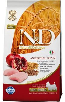 N&D Low Grain Chicken & Pomegranate Adult Mini, корм для собак мелких пород с Курицей и Гранатом / Farmina (Италия)