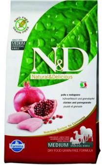 N&D Chicken & Pomegranate Adult,беззерновой корм для собак с Курицей и Гранатом / Farmina (Италия)