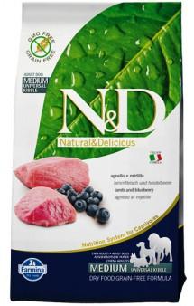N&D Lamb & Blueberry Adult,корм для собак с Ягненком и Черникой / Farmina (Италия)