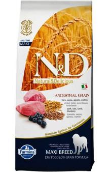 N&D Low Grain Lamb and Blueberry Adult Maxi, корм для собак крупных пород с Ягненком и Черникой / Farmina (Италия)