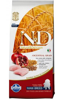 N&D Low Grain Chicken & Pomegranate Puppy Maxi,корм для щенков крупных пород с Курицей и Гранатом / Farmina (Италия)