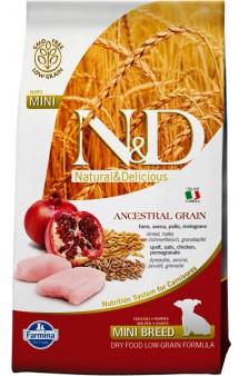 N&D Low Grain Chicken & Pomegranate Puppy Mini,корм для щенков мелких пород с Курицей и Гранатом / Farmina (Италия)