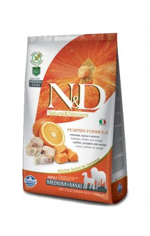 N&D Dog GF Pumpkin Codfish and Orange Adult Medium and Maxi, корм для собак с Треской, Апельсином и Тыквой / Farmina (Италия)