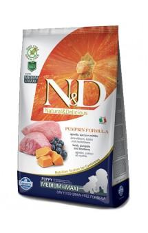 N&D Dog GF Pumpkin Lamb and Blueberry Puppy Medium and Maxi, корм для щенков с Ягненком, Черникой и Тыквой / Farmina (Италия)