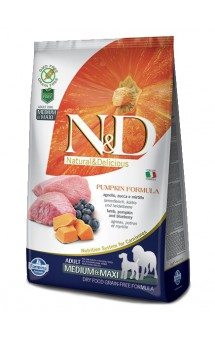 N&D Dog GF Pumpkin Lamb and Blueberry Adult Medium and Maxi, корм для собак с Ягненком, Черникой и Тыквой / Farmina (Италия)