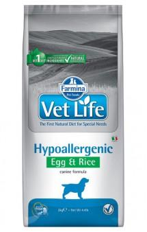 Vet Life Dog Hypoallergenic Egg and Rice, диета для собак при пищевой аллергии, Яйцо и Рис / Farmina (Италия)