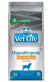 Vet Life Dog Hypoallergenic Fish and Potato, диета для собак при пищевой аллергии, Рыба и Картофель / Farmina (Италия)