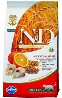 N&D Low Grain Cat Codfish & Orange, корм для кошек с Треской и Апельсином  /  Farmina (Италия)