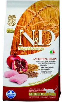 N&D Low Grain Cat Chicken & Pomegranate Neutered, корм для стерилизованных коше с Курицей и Гранатом /  Farmina (Италия)