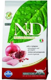N&D Cat Chicken & Pomegranate Adult,беззерновой корм для кошек с Курицей и Гранатом / Farmina (Италия)