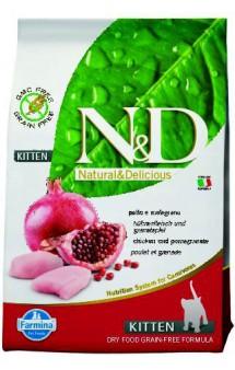 N&D Cat Chicken & Pomegranate Kitten, корм для котят с Курицей и Гранатом /  Farmina (Италия)