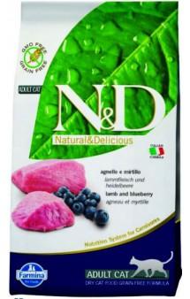N&D Cat Lamb and Blueberry Adult, корм для кошек с Ягненком и Черникой / Farmina (Италия)