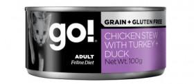 GO! NATURAL Holistic Chicken Stew with Turkey, Duck, консервы беззерновые с тушеной курицей, индейкой и уткой, для кошек / Petcurean (Канада)