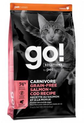 GO! CARNIVORE GF Salmon + Cod, корм для котят и кошек, Лосось и Треска / Petcurean (Канада)