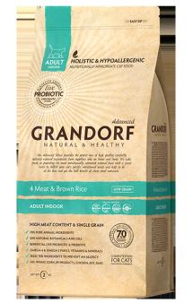 GRANDORF 4 Meat and Brown Rice Indoor, корм с пробиотиками для домашних кошек / United Petfood Producers NV (Бельгия)