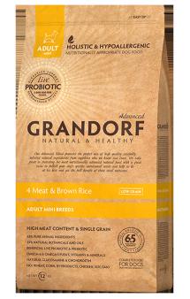 GRANDORF 4 MEAT & BROWN RICE MINI BREEDS, корм 4 мяса для собак мини пород / United Petfood Producers NV (Бельгия)