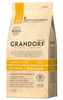 GRANDORF 4 MEAT and Brown Rice STERILIZED, корм для стерилизованных кошек / United Petfood Producers NV (Бельгия)