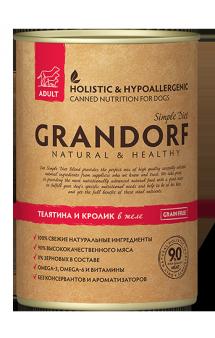 GRANDORF Veal Adult All Breeds, влажный корм для собак с Телятиной и Кроликом / Monge & C. SpA (Италия)