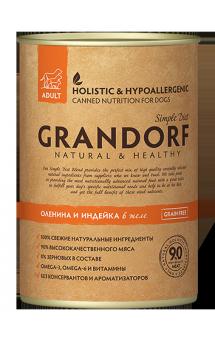 GRANDORF Venison and Turkey Adult All Breeds, влажный корм для собак с Олениной и Индейкой / Monge & C. SpA (Италия)