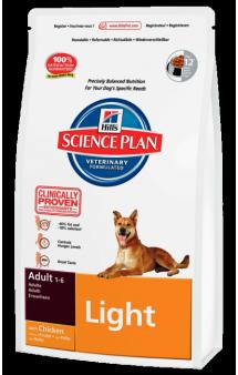 Science Plan Adult Light with Chicken, облегченный корм для собак / Hill's (США-Нидерланды)