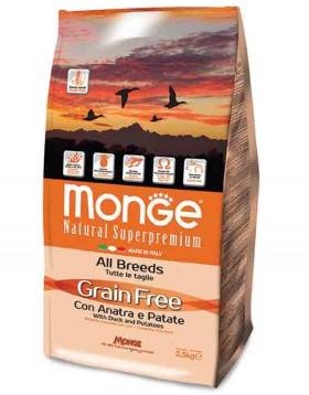 Grain Free Adult All Breeds with Duck and Potatoes,беззерновой корм для собак всех пород с Уткой / Monge (Италия)