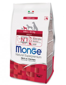 Monge Dog Mini Adult Rich in Chicken, корм для собак мелких пород с Курицей / Monge (Италия)