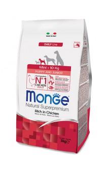 Monge Dog Mini Puppy and Junior Rich in Chicken, корм для щенков мелких пород с Курицей / Monge (Италия)