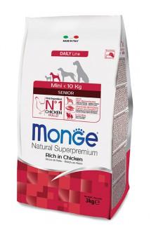 Monge Dog Mini Senior Rich in Chicken, корм для пожилых собак мелких пород с Курицей / Monge (Италия)