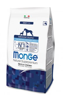 Monge Dog Medium Starter for Mother and baby Rich in Chicken, корм для щенков средних пород, с Курицей / Monge (Италия)