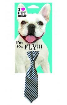 "Neck Tie black/white striped, украшение ""Галстук"" для собак / Pet Head ( США)"